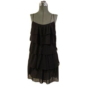 Loft Black Chiffon Ruffle Spaghetti Strap Dress 4